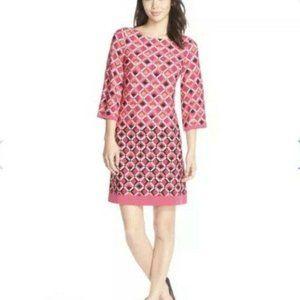 Eliza J Geometric Pink Printed Shift Dress Size 8